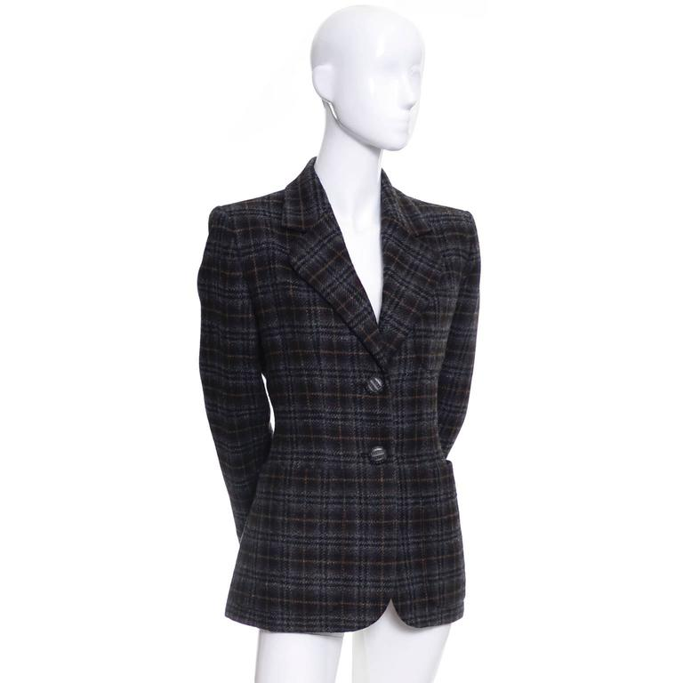 Yves Saint Laurent YSL vintage brown and gray plaid wool blazer