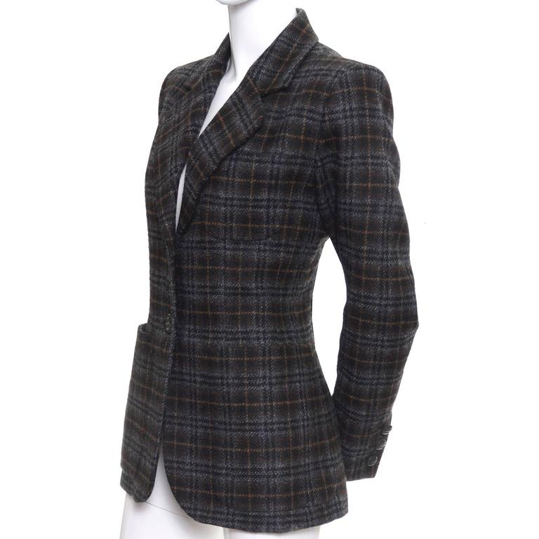 Vintage 90's YSL plaid jacket in wool