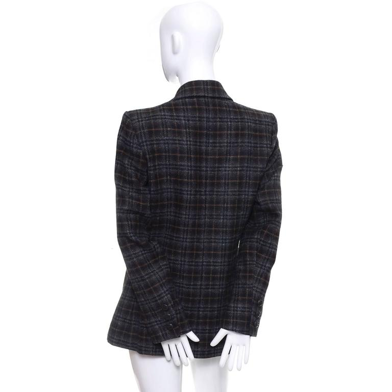Vintage plaid 2 button blazer Yves Saint Laurent size 10