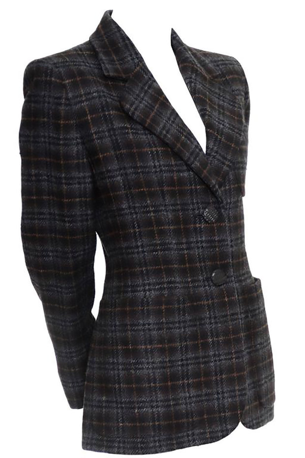 Brown and Gray plaid vintage YSL 1990s blazer