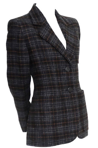 1980s Kenzo Vintage Multicolored Houndstooth Plaid Wool Coat
