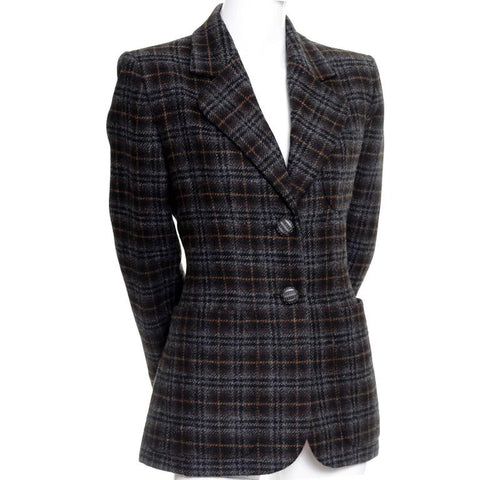 1990s Yves Saint Laurent Vintage plaid wool blazer