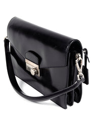 Vintage 1990s Prada Black Leather Vitello Sound flap handbag w Dust Bag Key & Lock