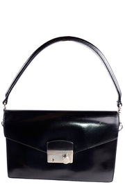 Vintage 1990s Prada Black Leather Vitello Sound flap handbag w Dust Bag