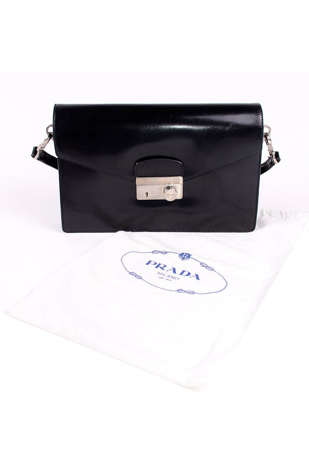 Vintage 1990s Prada Black Leather Vitello Sound flap Bag handbag