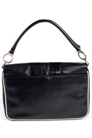 1990s Prada Black & White Perforated Leather Designer Handbag