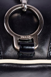 1990s Prada Black & White Perforated Leather Top Handle Handbag authentic