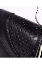 1990s Prada Black & White Perforated Leather Top Handle Handbag bag