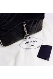 1990s Prada Black & White Perforated Leather Top Handle Vintage Handbag