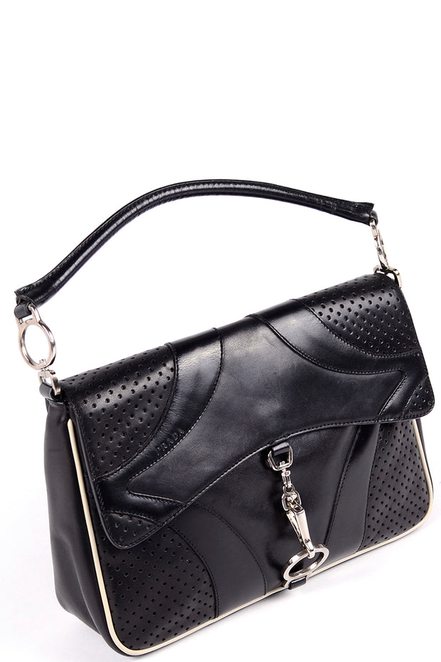 1990s Prada Vintage Black Leather Handbag