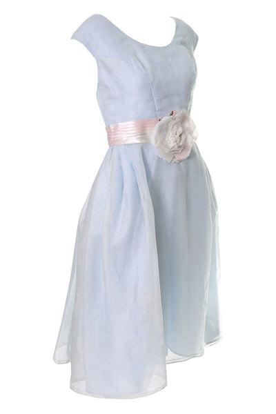 Priscilla of Boston Vintage Blue Organza Dress Ombre Sash - Dressing Vintage