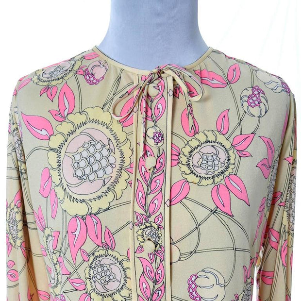 Floral yellow and pink vintage Pucci dress