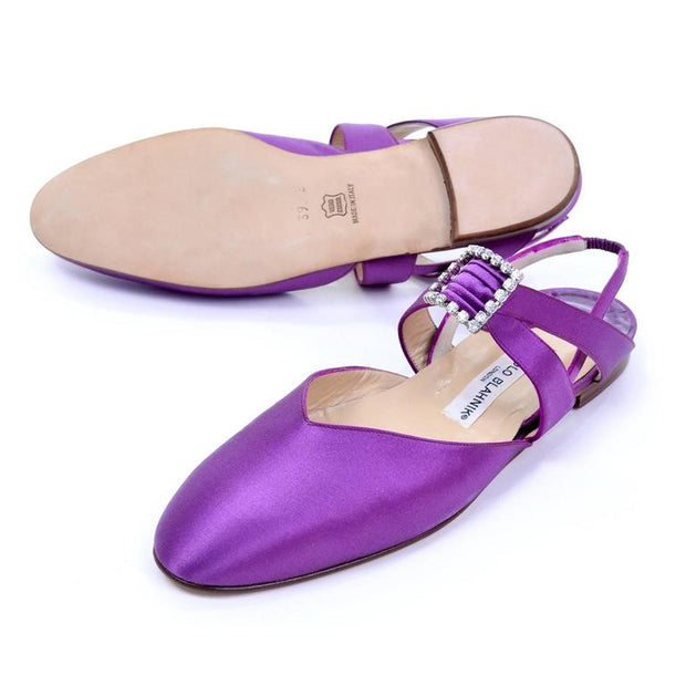 Never worn Manolo Blahnik vintage purple satin flats