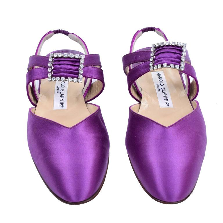 1980's purple satin Manolo Blahnik vintage flats with rhinestone buckle and slingback