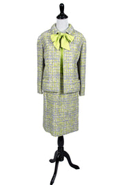 Green and purple wool vintage Ramuz Geneve 3 piece skirt suit with silk blouse - Dressing Vintage