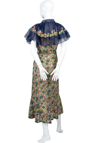 1930's Adaptation Chanel Paris Floral Applique Silk Chiffon Floral Vintage Dress with Navy Chiffon Ruffles