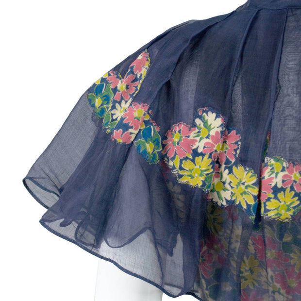 1930's Adaptation Chanel Paris Floral Applique Silk Chiffon Floral Vintage Dress Navy Ruffles and Bow