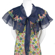 1930's Adaptation Chanel Paris Floral Applique Silk Chiffon Floral Vintage Dress Navy Sash