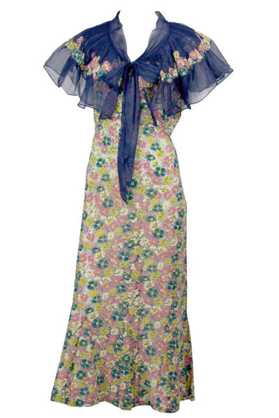 1930's Adaptation Chanel Paris Floral Applique Silk Chiffon Floral Vintage Dress