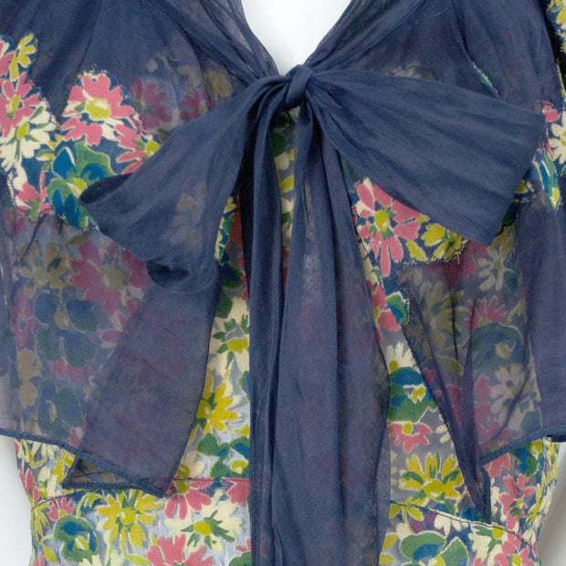 1930's Adaptation Chanel Paris Floral Applique Silk Chiffon Floral Vintage Dress with Bow
