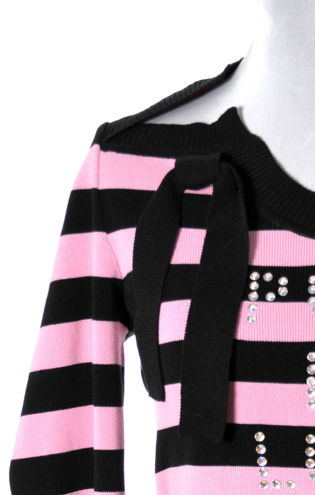 Rare Vintage Sonia Rykiel pink striped Pull De Luxe sweater top - Dressing Vintage