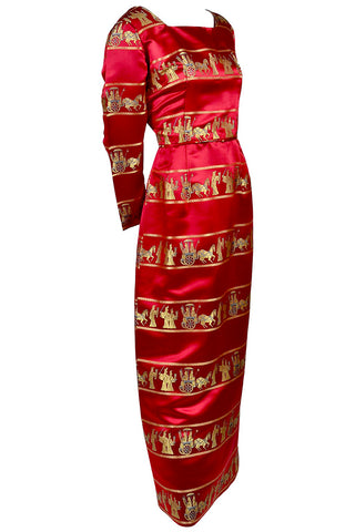 1960s Formal Red Satin Vintage Dress Asian Print