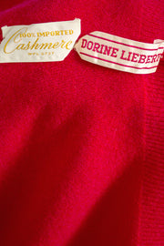 Dorine Liebert Red 1950s Cashmere Vintage Sweater - Dressing Vintage