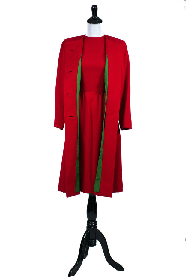 Vintage Red Sheath Dress and Matching Coat