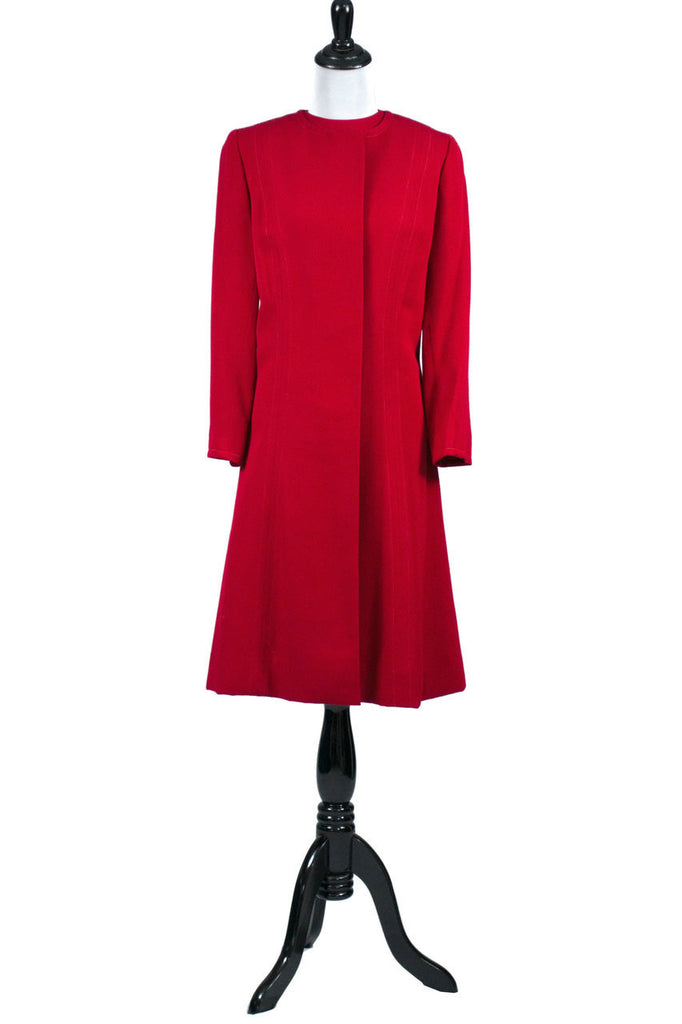 Vintage Red Sheath Dress Matching Coat with Green Lining 1950s 1960s - Dressing Vintage