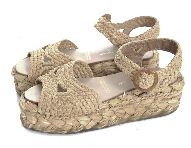 7.5 Robert Clergerie Natural Raffia Wedge Sandals Made in France - Dressing Vintage
