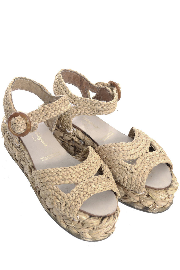 Robert Clergerie raffia wedge sandals shoes