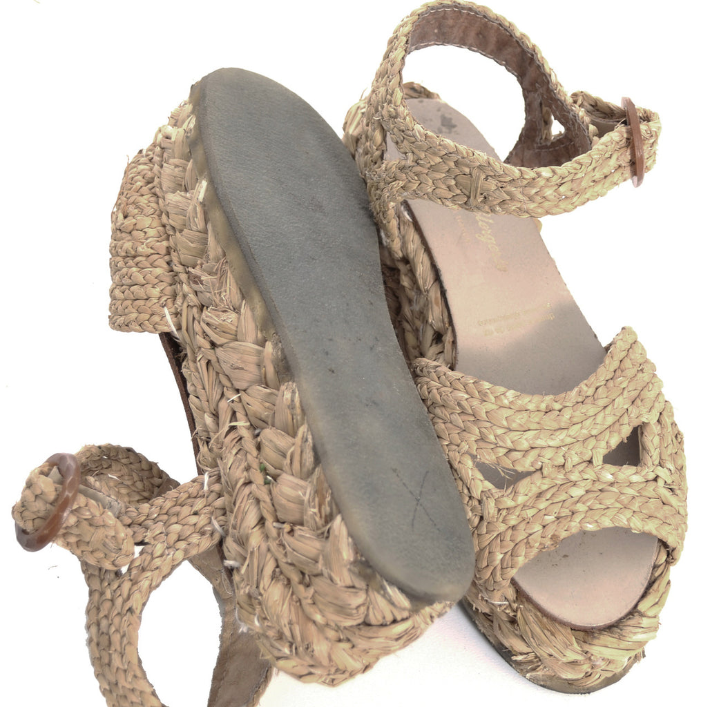 Natural raffia Robert Clergerie woven wedge sandals shoes