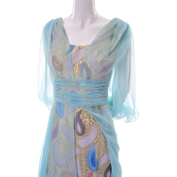 Paisley 1960's vintage dress with sheer blue overlay