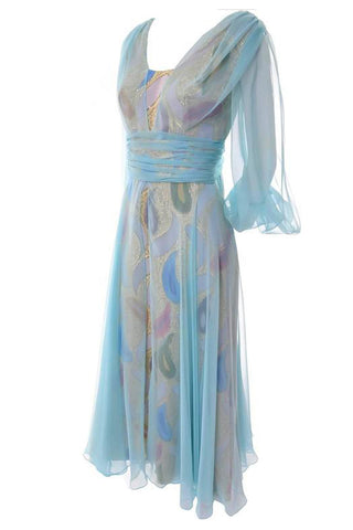 1950's Blue Organza Vintage Dress with Flower and Sash
