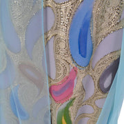 Detail of the pastel painted paisleys on this 1960's Rose Taft dress