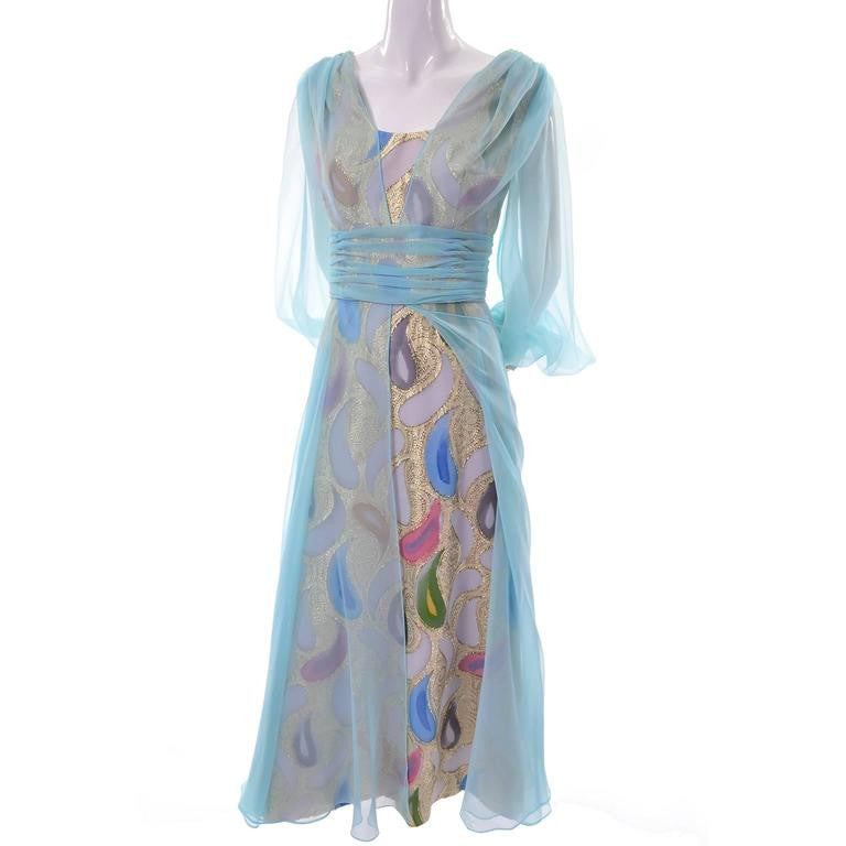 1960\'s Rose Taft Vintage Blue Chiffon and Gold Metallic Paisley ...