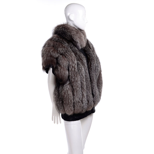 1980s Coat Saga Fox Fur Jacket W Removable Ostrich Leather Sleeves