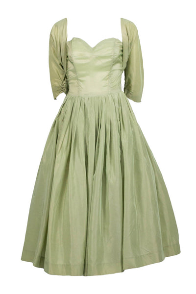 Vintage 1950s pale pistachio irridescent green taffeta party dress with bolero - Dressing Vintage