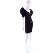 1980s Ruched Vintage Silk Cocktail Evening Dress In Tonal Black Polka Dots
