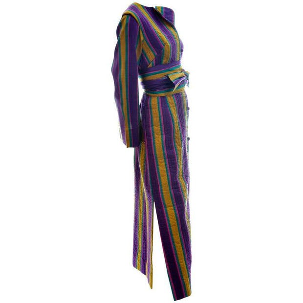 1970s Quilted Silk Caftan with Stripes and slit