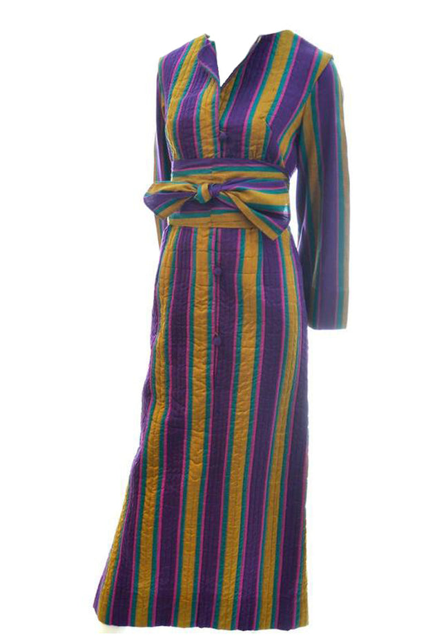 Vintage 1970s Quilted Silk Caftan with Stripes and Sash Bohemian Kaftan