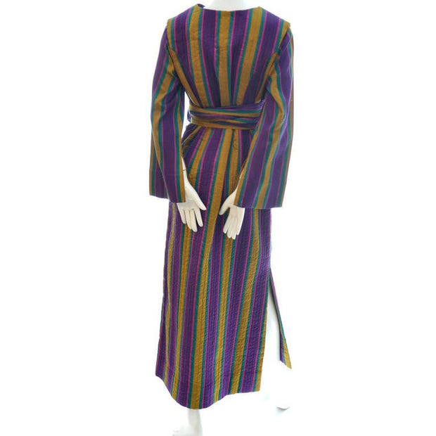 Striped 1970's boho maxi dress with long sleeves and sash