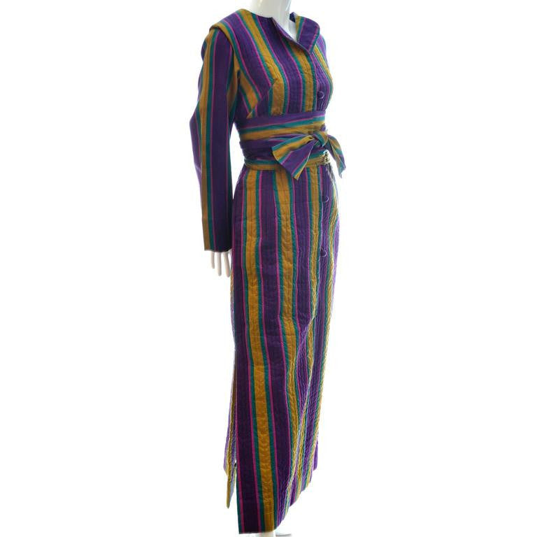 Vintage Saks Fifth Avenue 1970s Quilted Silk Caftan with Stripes and Sash Bohemian Kaftan