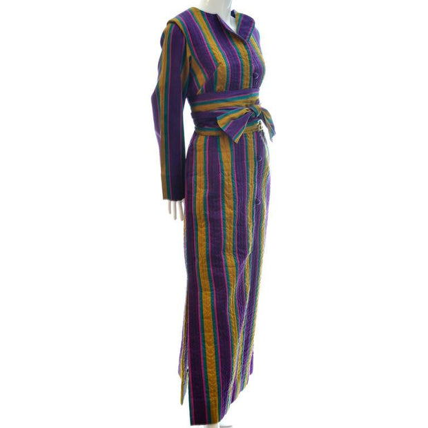 Striped Quilted 1970's Caftan