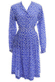 Vintage Ferragamo Blue Skirt & Blouse Silk Dress Arrowhead Novelty Print - Dressing Vintage