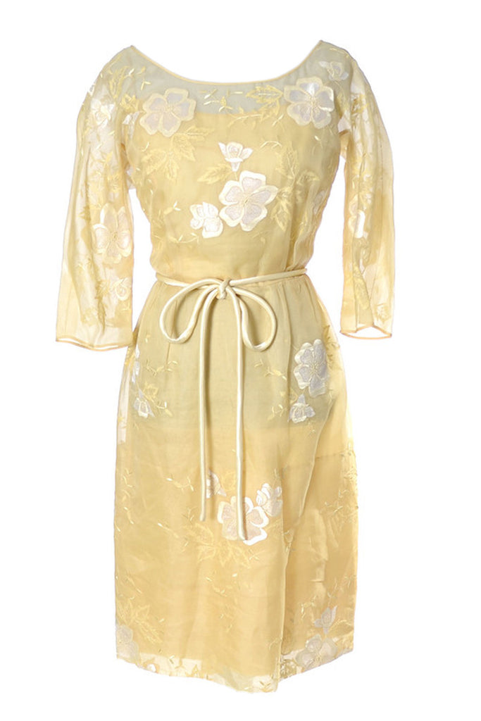 Yellow floral organza vintage dress from 1960s