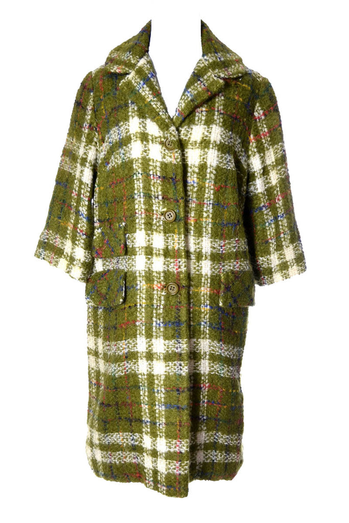 1950's Sandra Sage Vintage Coat Green Plaid Wool