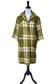 1950's Sandra Sage Vintage Green Plaid Wool Coat - Dressing Vintage