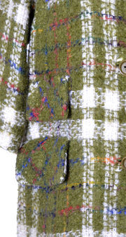 1950's Sandra Sage Vintage Coat Green Plaid Wool - Dressing Vintage