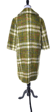 1950's Sandra Sage Oversized Vintage Coat Green Plaid